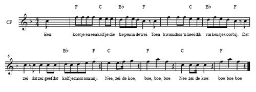 bladmuziek Een koetje en een kalfje