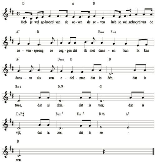 bladmuziek De Zevensprong (Heb je wel gehoord van de zeven)