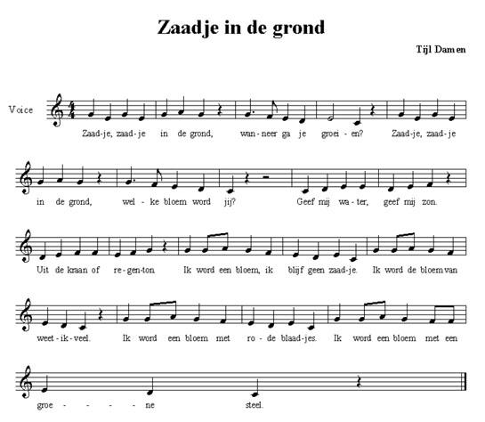 bladmuziek zaadje in de grond