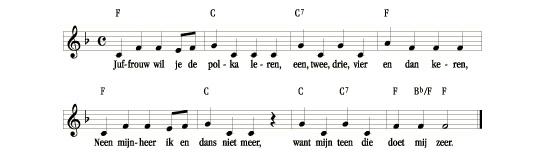 bladmuziek Juffrouw, wil je de polka leren