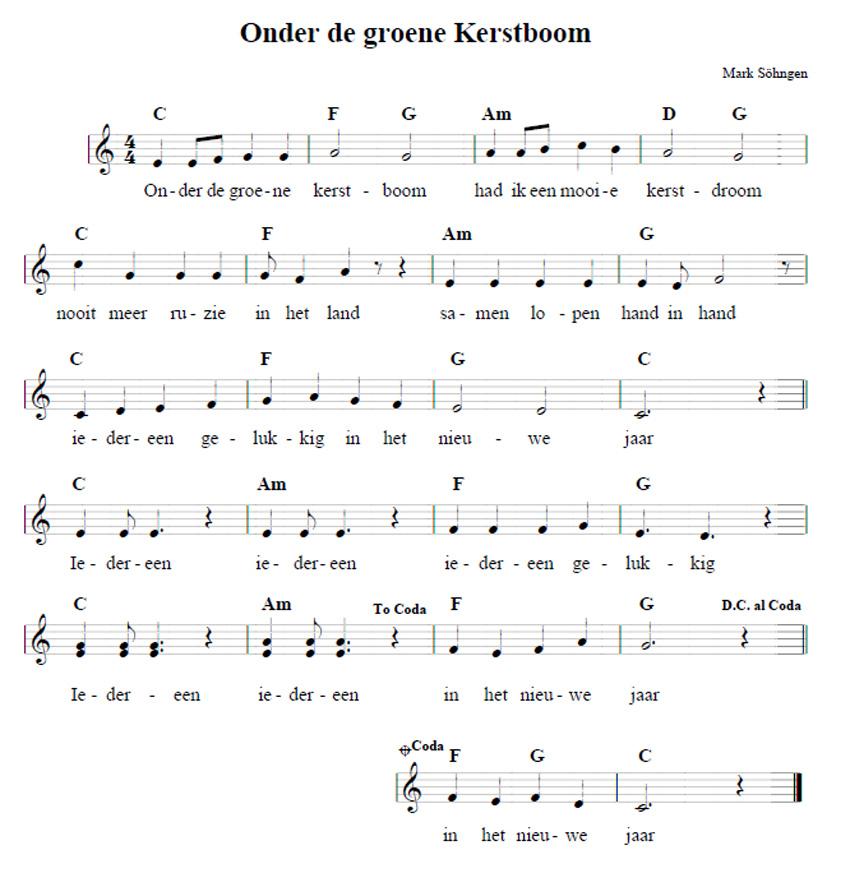 Bladmuziek Onder de groene kerstboom